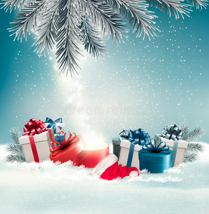 Free Christmas Holiday Background With Presents And Magic Box. Stock Photography - 79889482