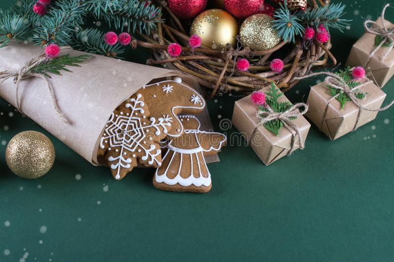 Christmas and holiday baking . Ginger cookies with decor royalty free stock image