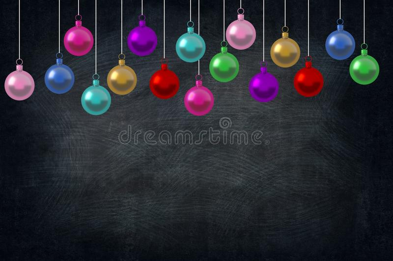 Christmas Holiday Balls ornaments in the class of school on blackboard background. picture copy space for art work design ad or ad. D text message. Holiday vector illustration