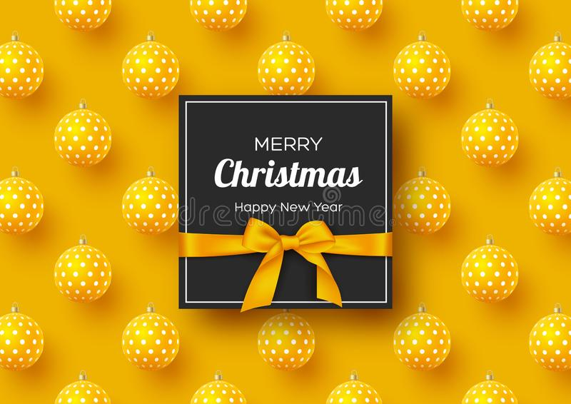 Christmas holiday banner. Realistic 3d balls with geometric pattern and label with silk bow. Yellow New Year background. Vector illustration royalty free illustration
