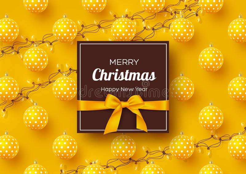Christmas holiday banner. Realistic 3d baubles with geometric pattern, garlands and label with silk bow. Yellow New Year. Background. Vector illustration vector illustration