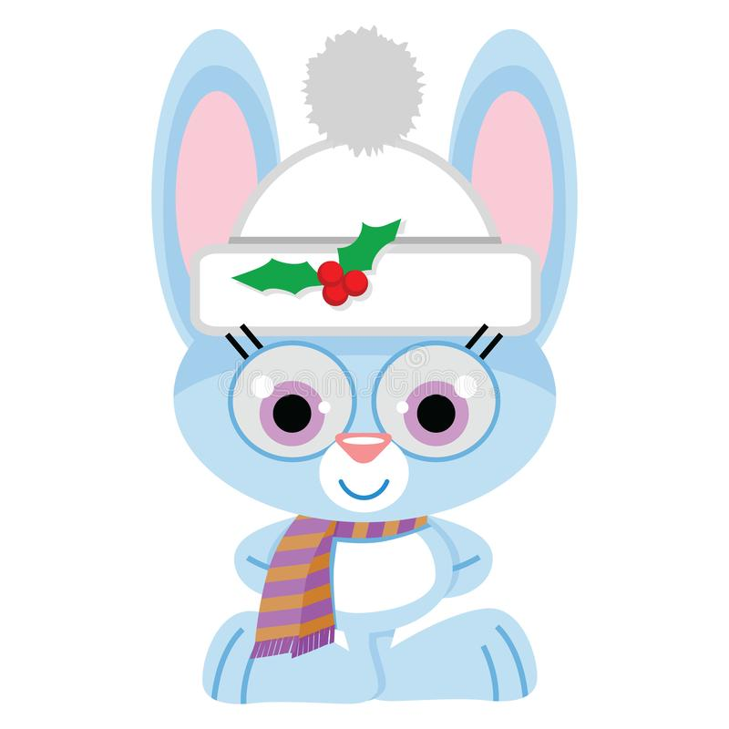 Christmas Holiday blue bunny with stocking cap, holly and scarf. A lovable little blue bunny wearing a white stocking cap with holly berry pin and striped neck royalty free illustration