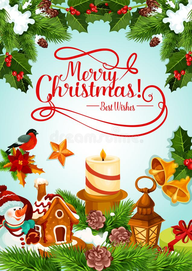 Christmas holiday candle and Xmas tree card design stock illustration