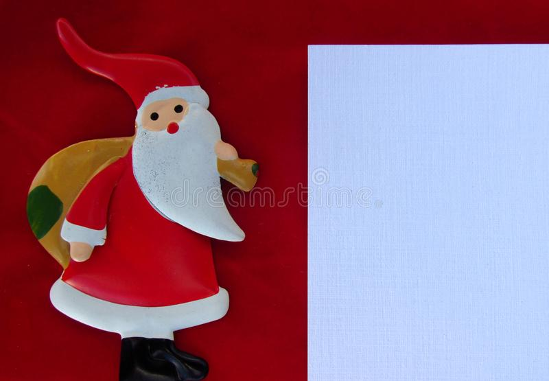 Christmas season theme, with Santa Claus. Christmas holiday composition top view. Christmas background for social media campaign. stock images