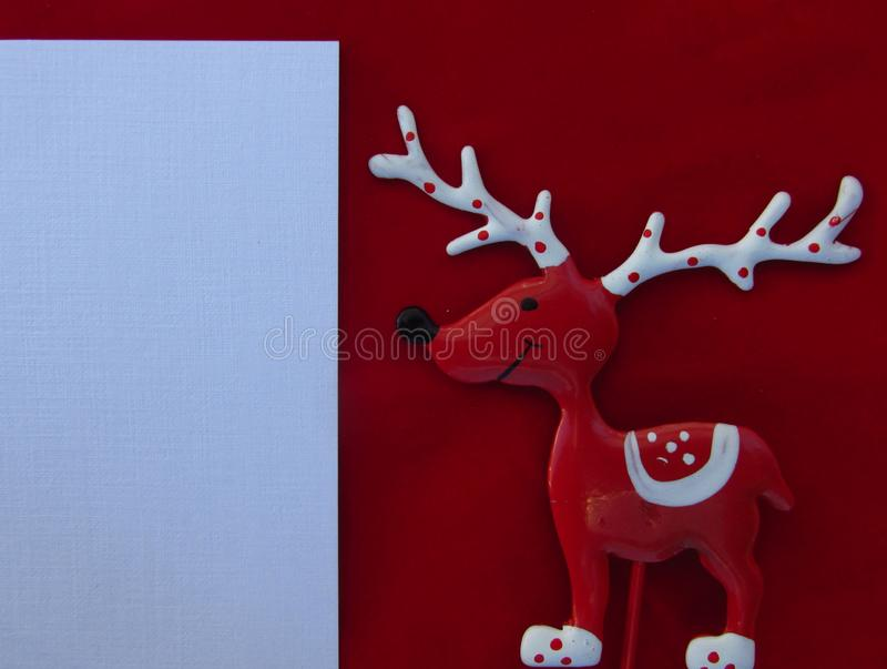 Christmas season theme, with reindeer. Christmas holiday composition top view. Christmas background for social media campaign. stock photo