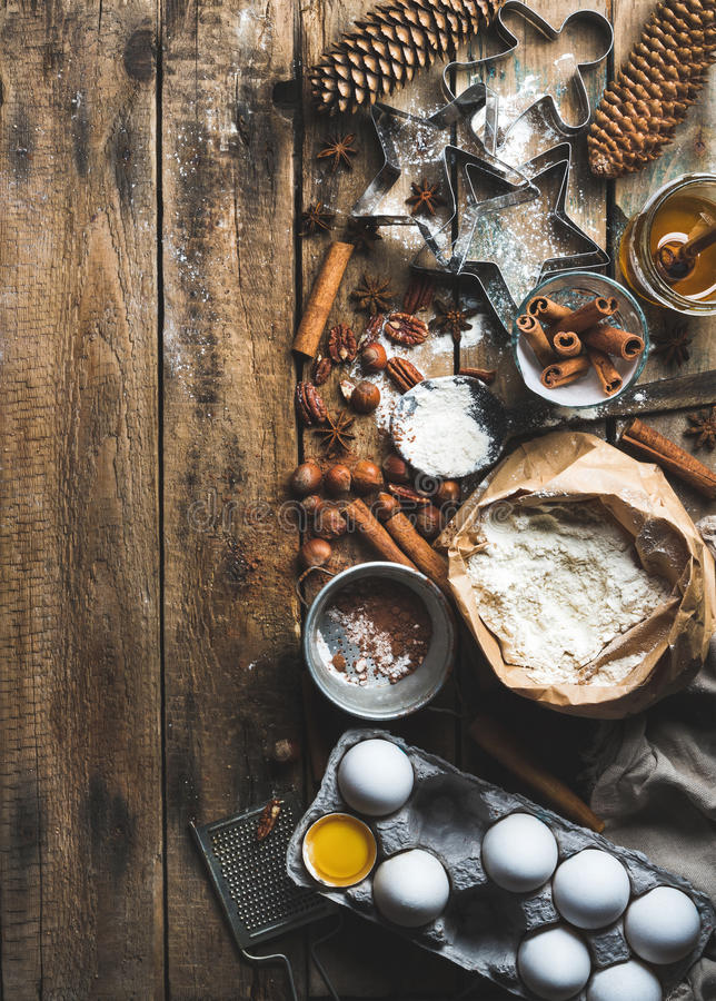 Christmas Holiday Cooking And Baking Ingredients On Rustic