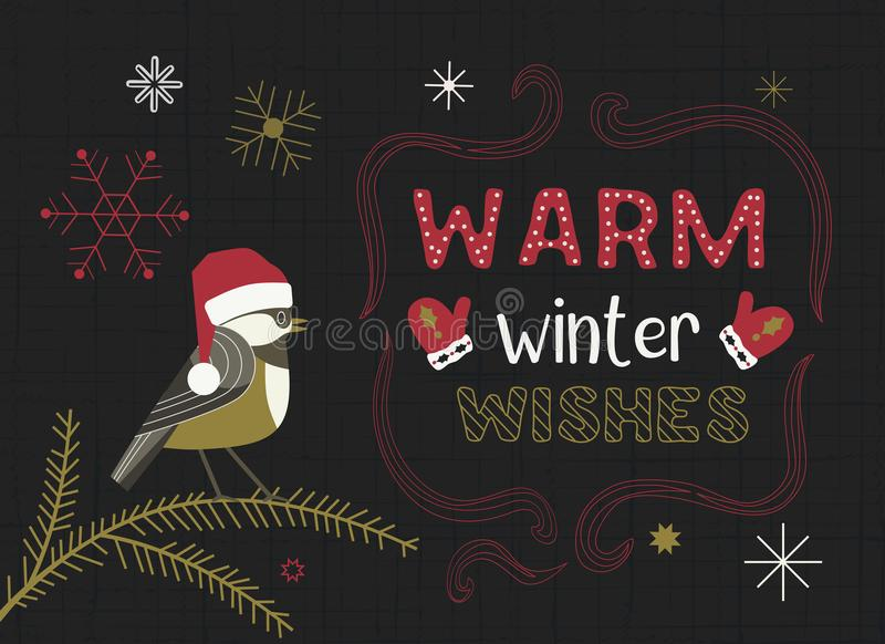 Christmas Holiday decoration. Cute cartoon Chickadee in santa red hat. Fancy festive lettering Winter season wishes. Vector winter seasonal holiday greeting royalty free illustration