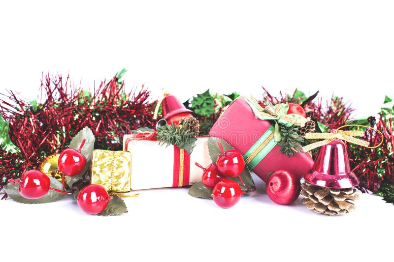 Christmas holiday decorations giftboxes packing on white background,Christmas and New Year sale stock images