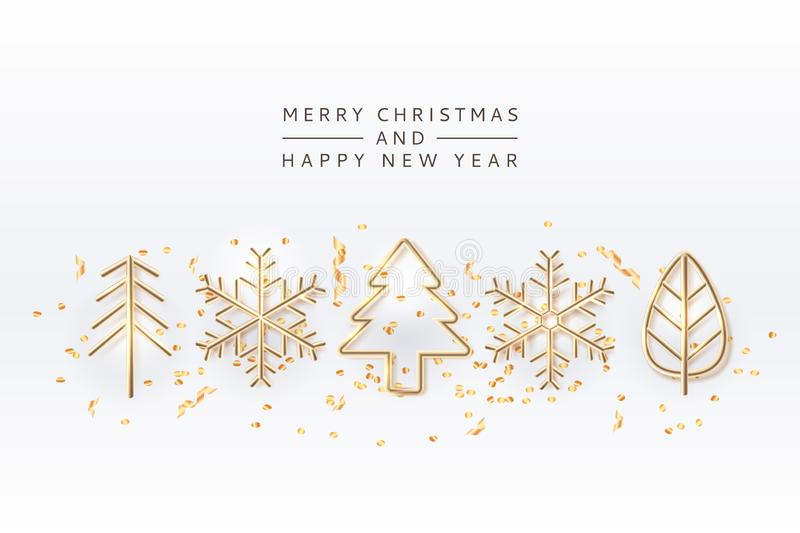 Christmas holiday design elements. Vector 3d illustration of golden Christmas tree, snowflakes. Gold New Year toys stock illustration
