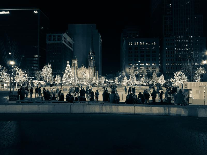 Christmas holiday in downtown Cleveland, Ohio royalty free stock photography