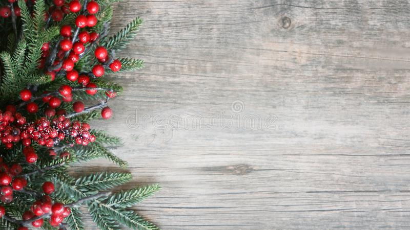 Holiday Evergreen Branches and Berries Over Rustic Wood Background royalty free stock images