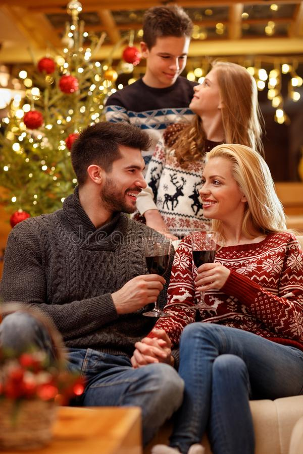 Christmas holiday in family. Celebration of Christmas holiday in family at home stock image