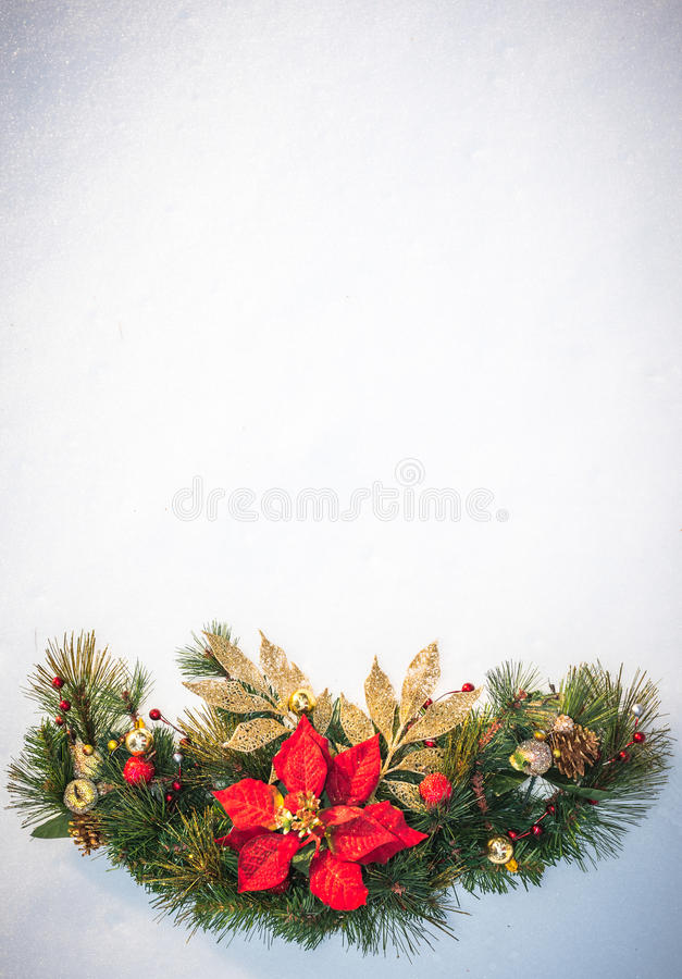 Download Christmas Holiday Faux Poinsettia Pine Wreath With White Copyspace. Stock Image - Image: 83722575