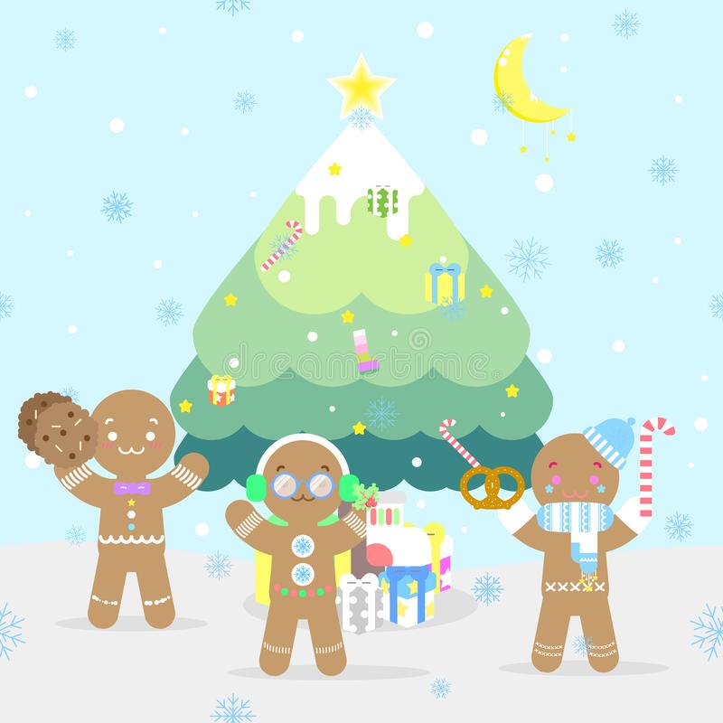 Christmas holiday festival with cookie gingerbread man,decoration christmas tree,snowflake,gift box present in the winter season. Blue background,flat vector vector illustration