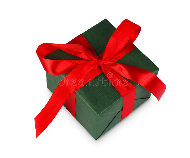 Christmas holiday gift box in green paper isolated on white stock photo