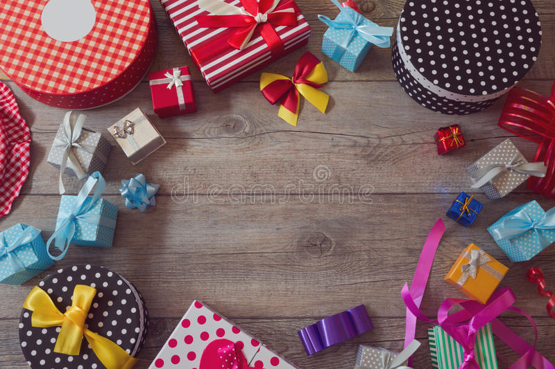 Christmas holiday gift shopping background. View from above with copy space. Christmas holiday gift shopping background. View from top with copy space royalty free stock photos