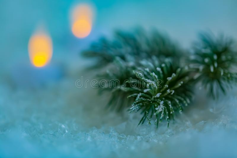 Christmas Holiday greeting card. Beautiful pine branches and a garland in the snow. Yellow and green bokeh blurred background. Shallow depth of field. Dark royalty free stock image