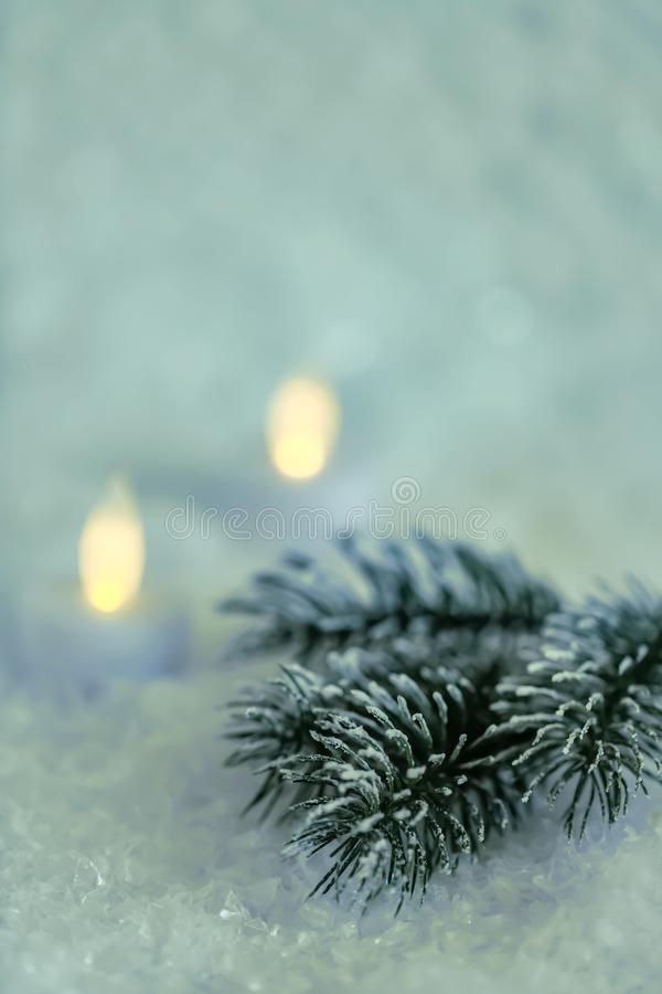 Pine branches and a garland in the snow. Yellow and green bokeh blurred background. Christmas Holiday greeting card. Beautiful pine branches and a garland in stock photos