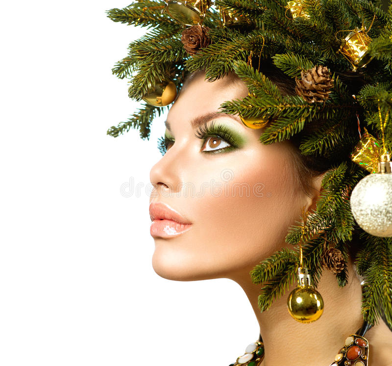 Christmas Holiday Hairstyle Stock Photography