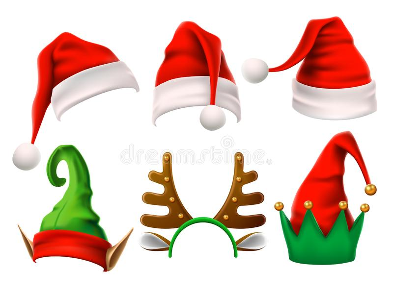 Christmas holiday hat. Funny 3d elf, snow reindeer and Santa Claus hats for noel. Elves clothes isolated vector set stock illustration