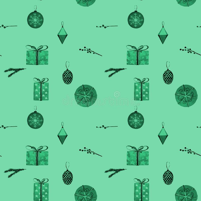 Christmas holiday present composition. Gift, christmas new year and sale concept seamless pattern. Painted by gouache royalty free illustration