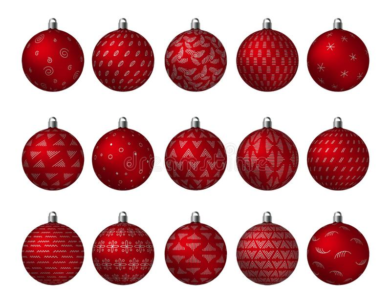 Christmas Holiday red ornated Balls with golden metallic patterns isolated on white background. Vector stock illustration