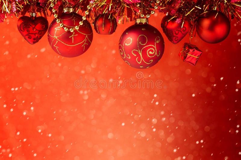 Christmas holiday red dreamy background with decorations stock photos