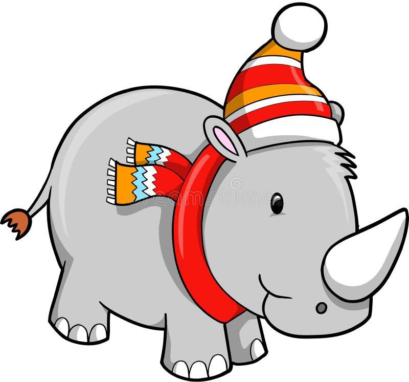 Christmas Holiday Rhino stock illustration
