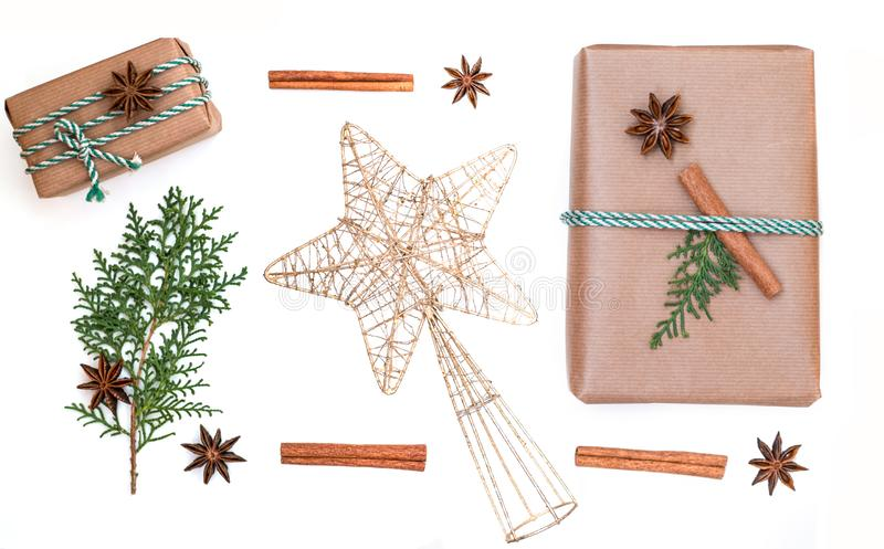 Christmas holiday`s composition. Christmas gifts and star. royalty free stock photography