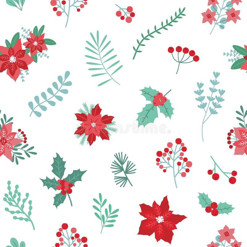 Christmas holiday seamless pattern with green and red seasonal decorative plants on white background. Backdrop with royalty free illustration