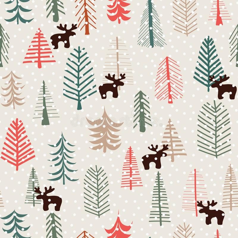 Christmas holiday seamless pattern with hand drawn reindeers, trees, and snowflakes. Vector illustration. Scandinavian style stock illustration