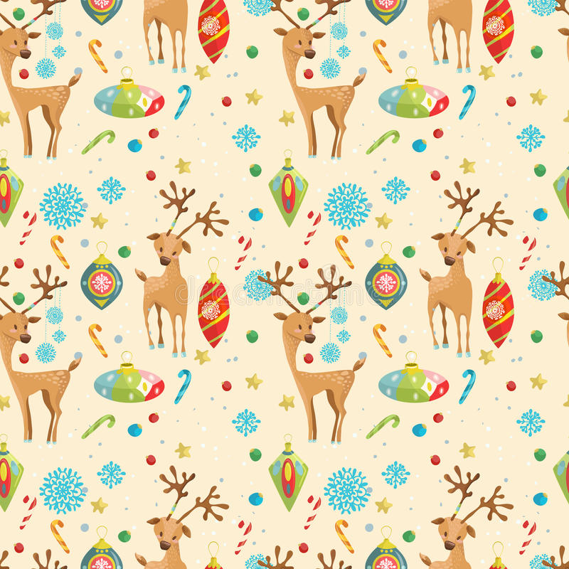 Christmas holiday seamless pattern with reindeer, snowflakes and royalty free illustration