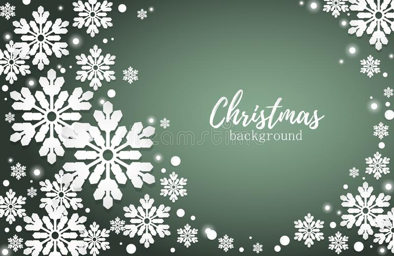 Abstract Christmas Background with white snowflakes on green background with copy space. Xmas card or banners. Vector illustration vector illustration