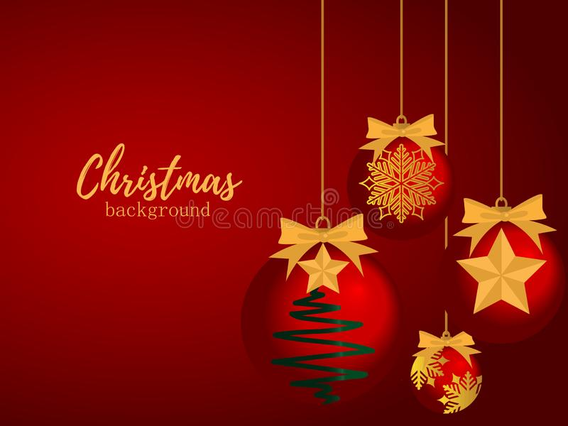 Christmas holiday season background with Christmas baubles ball with gold star and gold snowflake hanging on red background. vector illustration