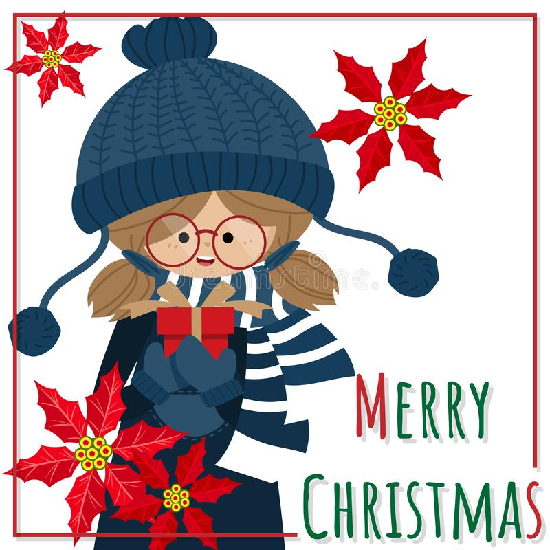 Christmas holiday season background with Cute girl in winter custom holding gift box ,Red Poinsettia Christmas flowers. Christmas holiday season background with vector illustration
