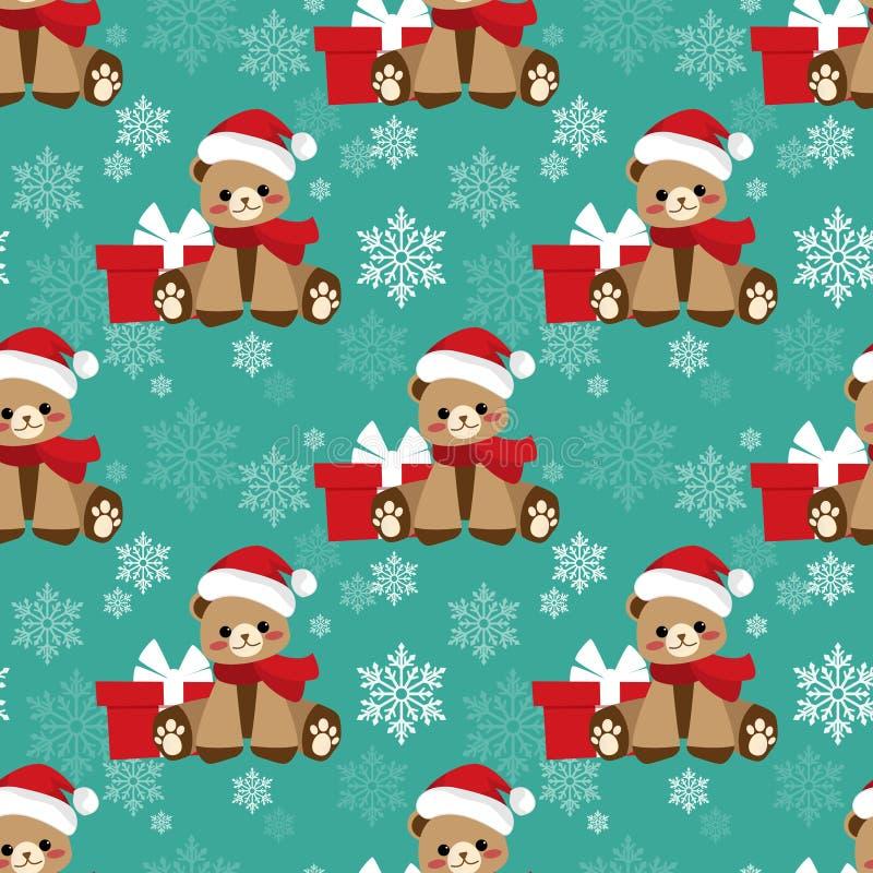 Christmas holiday season seamless pattern with Cute Bear with Santa hat, Gift box and snowflake. stock illustration
