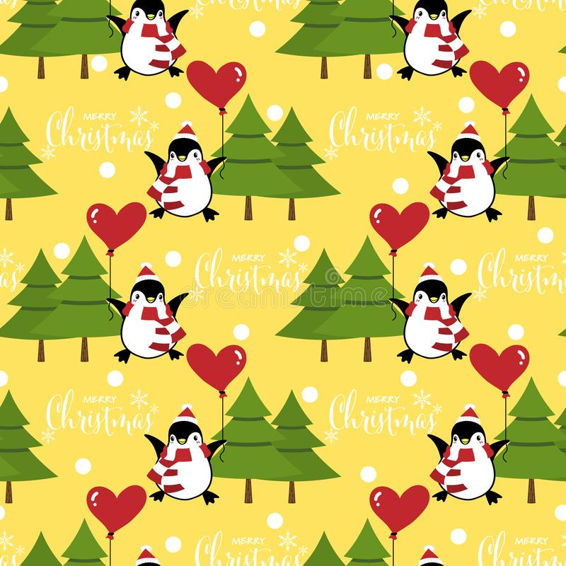 Christmas holiday season seamless pattern with cute cartoon penguins in winter custom. stock illustration