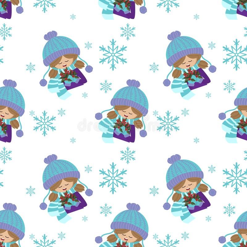 Christmas holiday season seamless pattern with Cute girl in winter custom with holly berries and snowflakes. Christmas holiday season seamless pattern with Cute royalty free illustration