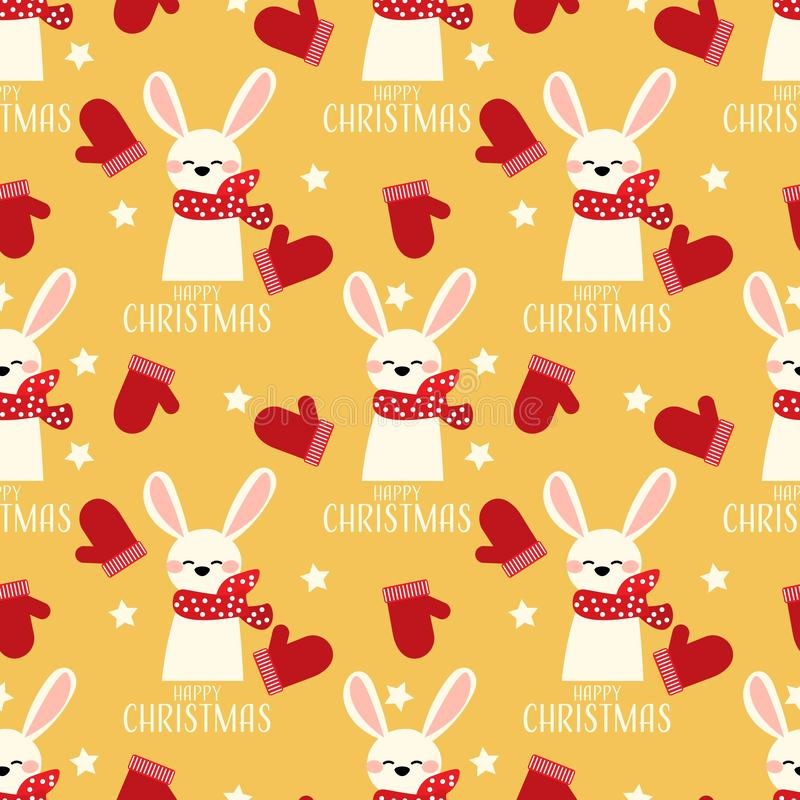 Cute rabbit with red grove, star and Happy Christmas text seamless pattern. Cute rabbit with red grove, star and Happy Christmas text seamless pattern on yellow stock illustration