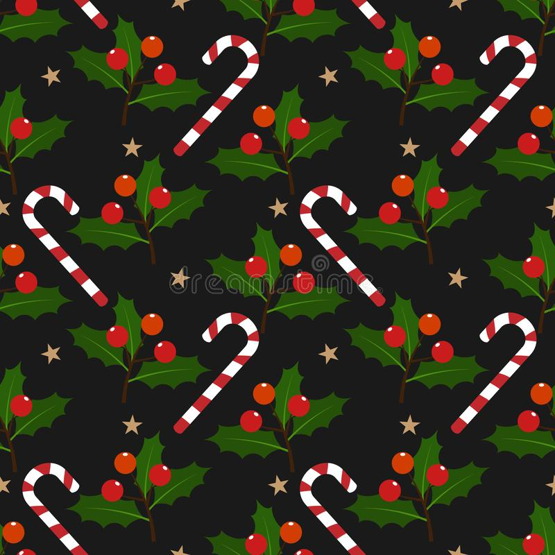Christmas elements with candy canes, star, Holly leaves and berries ornate seamless pattern on black background. stock illustration
