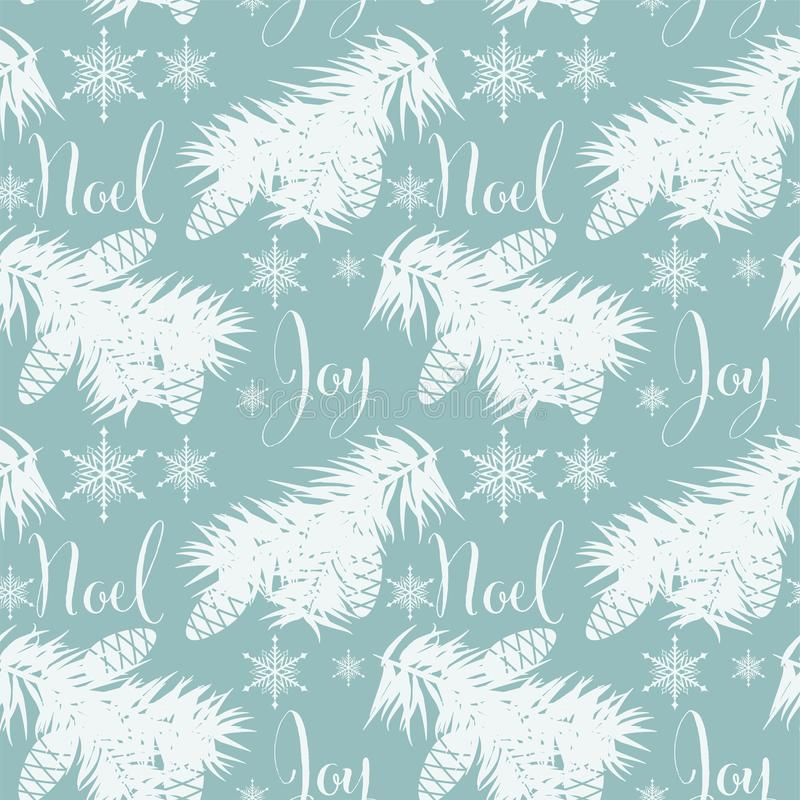 Christmas holiday season seamless pattern with pine branches, pine nuts and snowflakes. royalty free illustration