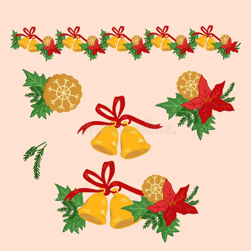 Christmas holiday set with Xmas Flower and Bells Border and single elements. vector illustration
