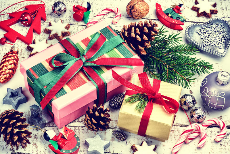 Christmas holiday setting with presents in boxes and festive dec royalty free stock photo