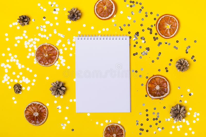 Christmas holiday shining background with notepadfor your list or creativity.  royalty free illustration