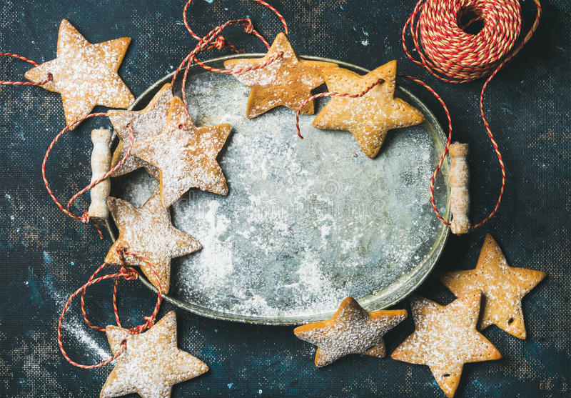 Christmas holiday star shaped gingerbread cookies for tree decoration royalty free stock photo