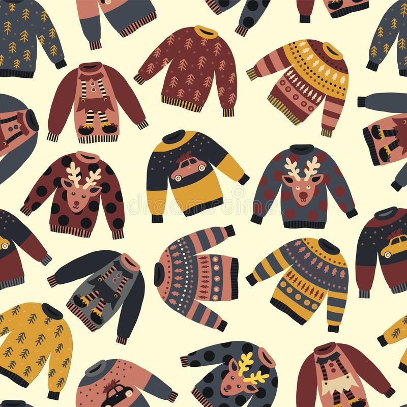 Christmas Holiday sweaters seamless vector pattern. Knitted ugly winter jumpers with norwegian ornaments and decorations. Vintage Christmas background for stock illustration