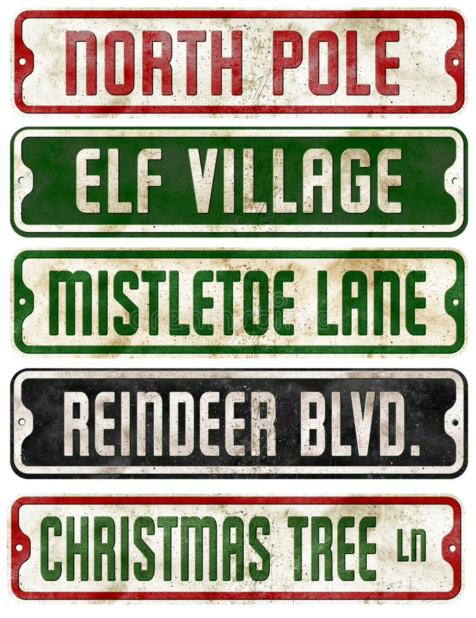 Christmas Holiday Theme Street Signs Collection. Elf Mistletoe lane reindeer Rudolf North Pole Santa stock photography
