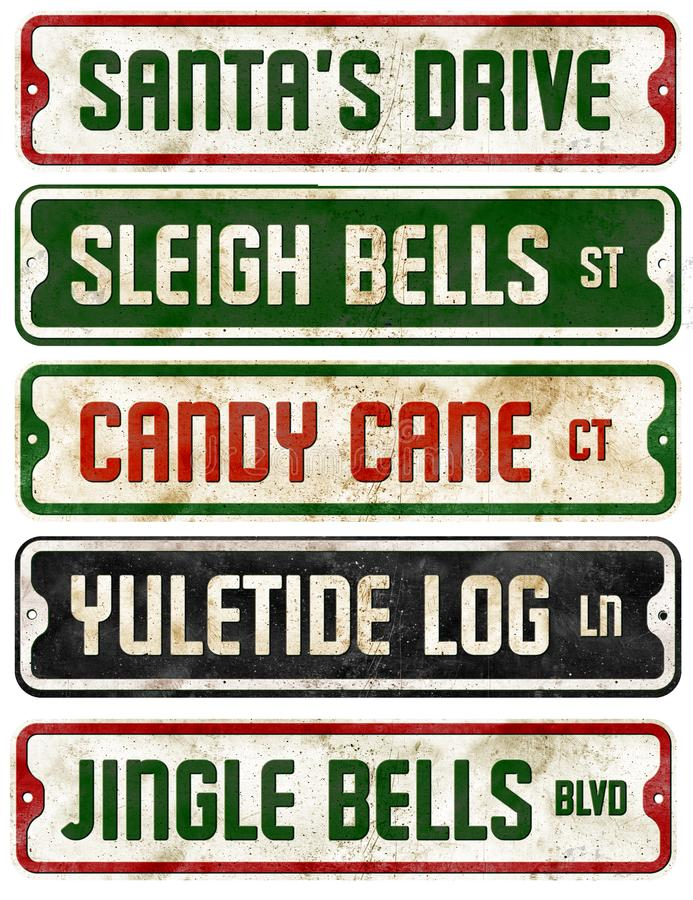 Christmas Holiday Theme Street Signs Collection Jingle Bells. Rustic Vintage Retro Home Decorations royalty free stock photos