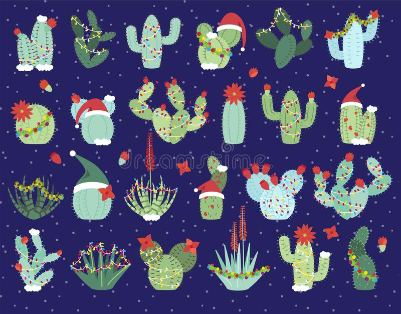 Christmas or Holiday Themed Cactus stock illustration