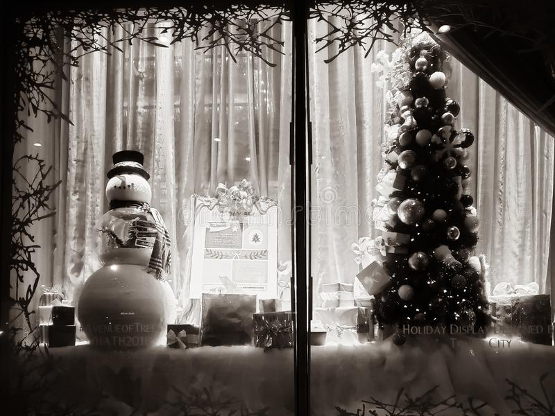 Christmas holiday window display in downtown Cleveland, Ohio stock photography